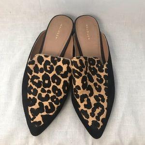 Halogen Corbin Cheetah Print Calf-hair Mules